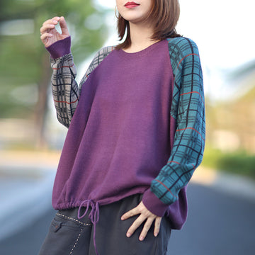 Autumn Plaid Knitted Drawstring Sweater