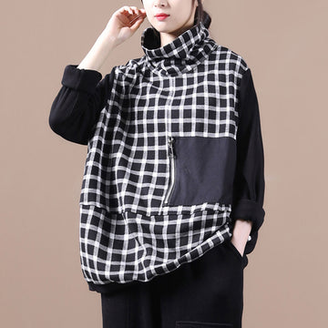 Autumn Plaid Zipper Turtleneck Sweatshirt