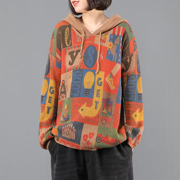 Autumn Print Knitted Hooded Sweater