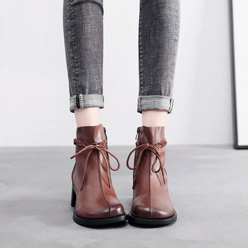 Autumn Retro High Heel Lacing Leather Boots