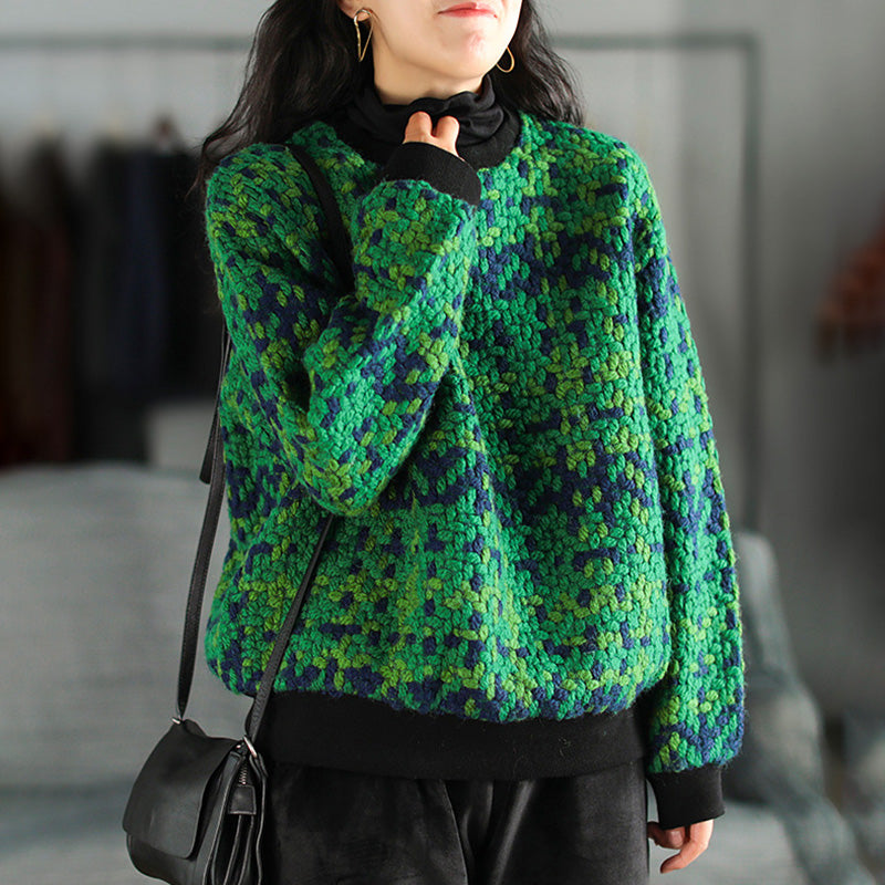 Autumn Retro Knitted Color Contrast Wool Pullover