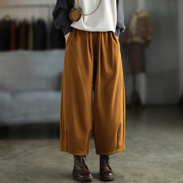 Autumn Retro Solid Color Pocket Wide Leg Pants