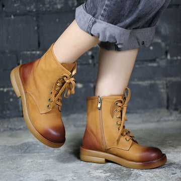 Autumn Round-toe Lacing Leather Short Boots