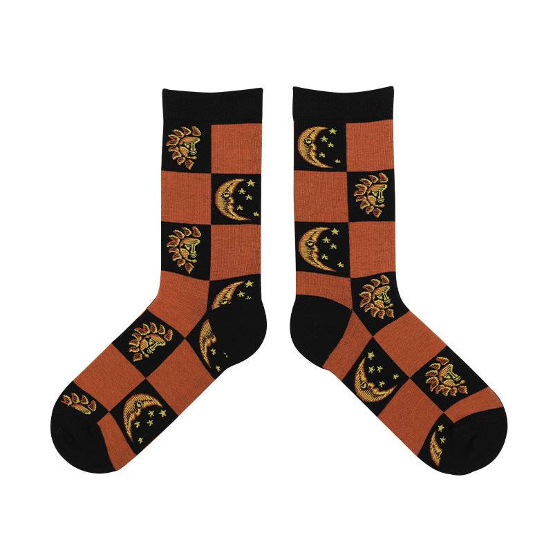 Autumn Skull Flower Angel Cotton Socks(2 Pairs)