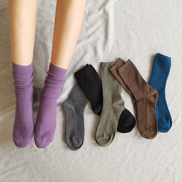Autumn Solid Color Cotton Socks(2 Pairs)