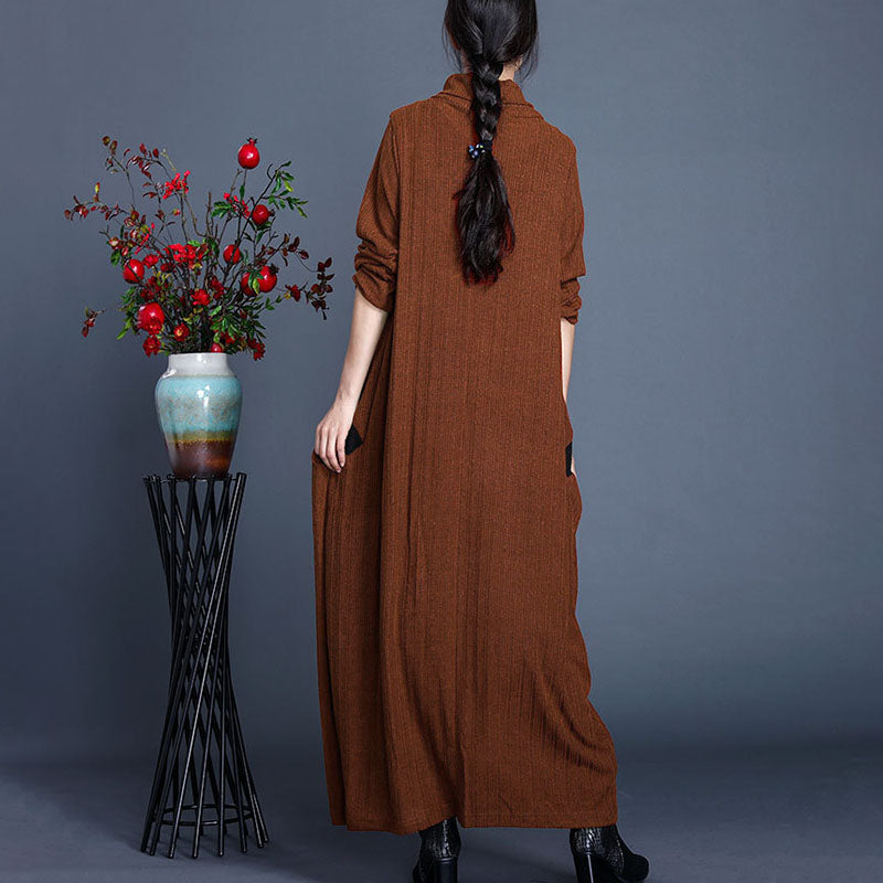 Autumn Solid Color Pocket Knitted Dress