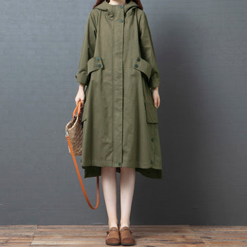 Autumn Solid Color Pocket Long Coat
