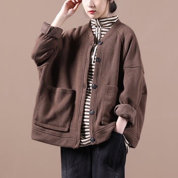 Autumn Solid Color Pocket Thicken Wild Coat