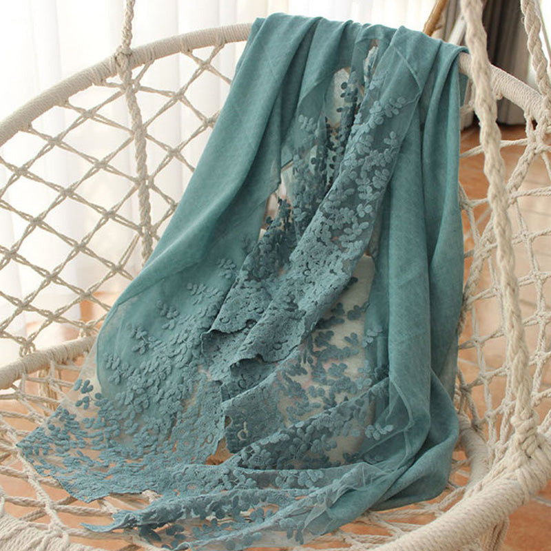 Autumn Solid Color Warm Lace Scarf