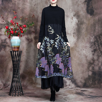 Autumn Stitching Draped Floral Embroidered Dress