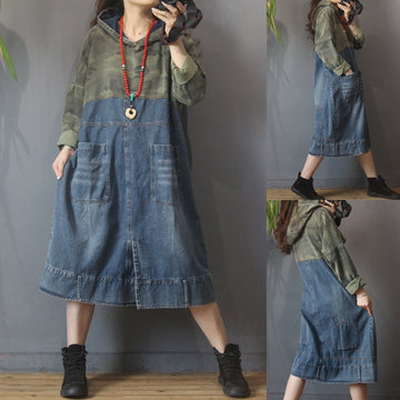 Autumn Stitching Hooded Denim Dress