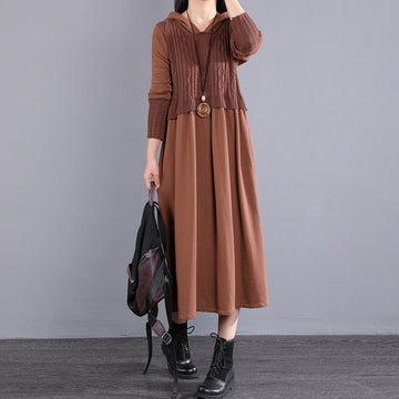 Autumn Stitching Knitted Hooded Pure Color Dress