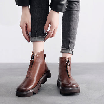 Autumn Stitching Solid Color Short Boots