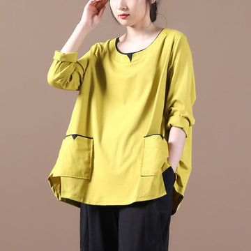Autumn Winter Pure Color Pocket Loose T-shirt
