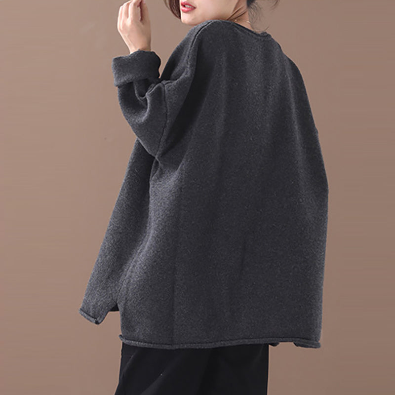 Autumn Women Big Pocket V-neck Sweater