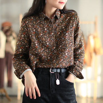 Autumn Women Commute Floral Retro Shirt