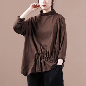 Autumn Women Irregular Hem Turtleneck Blouse