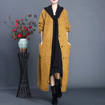 Autumn Women Loose Breasted Pocket Coat