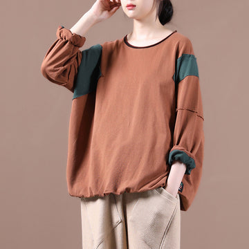 Autumn Women Loose Color Stitching Blouse