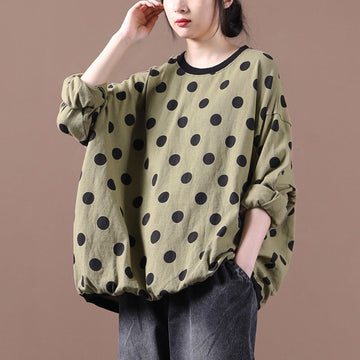 Autumn Women Loose Dot Cotton Blouse
