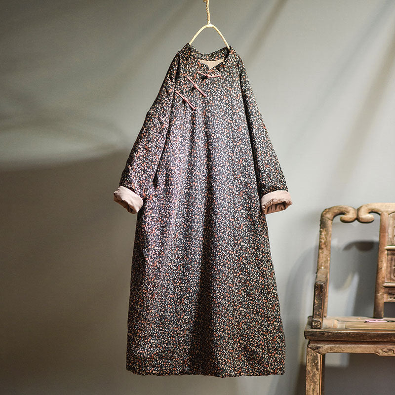 Autumn Women Loose Floral Cotton Dress