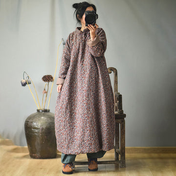 Plus Size - Autumn Women Loose Floral Cotton Dress