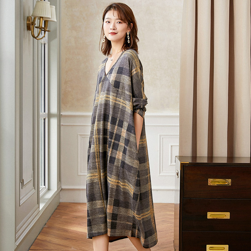 Autumn Women Loose Plaid Knitted Dress