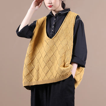 Autumn Women Loose Plaid Knitted Vest
