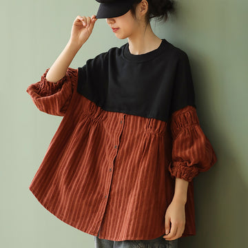 Autumn Women Loose Stitching Draped Blouse