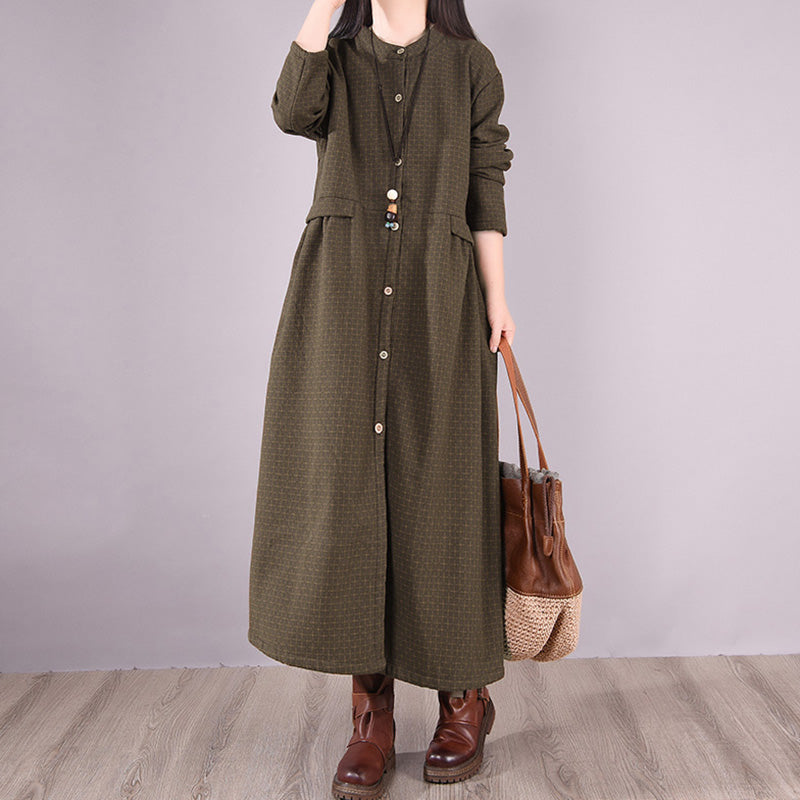 Autumn Women Plaid Draped Pocket Dress