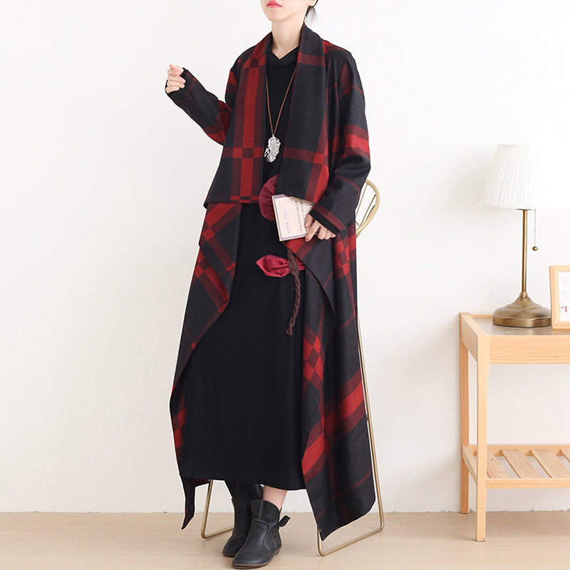 Autumn Women Plaid Irregular Long Coat
