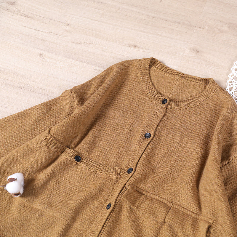 Autumn Women Pure Color Big Pocket Sweater