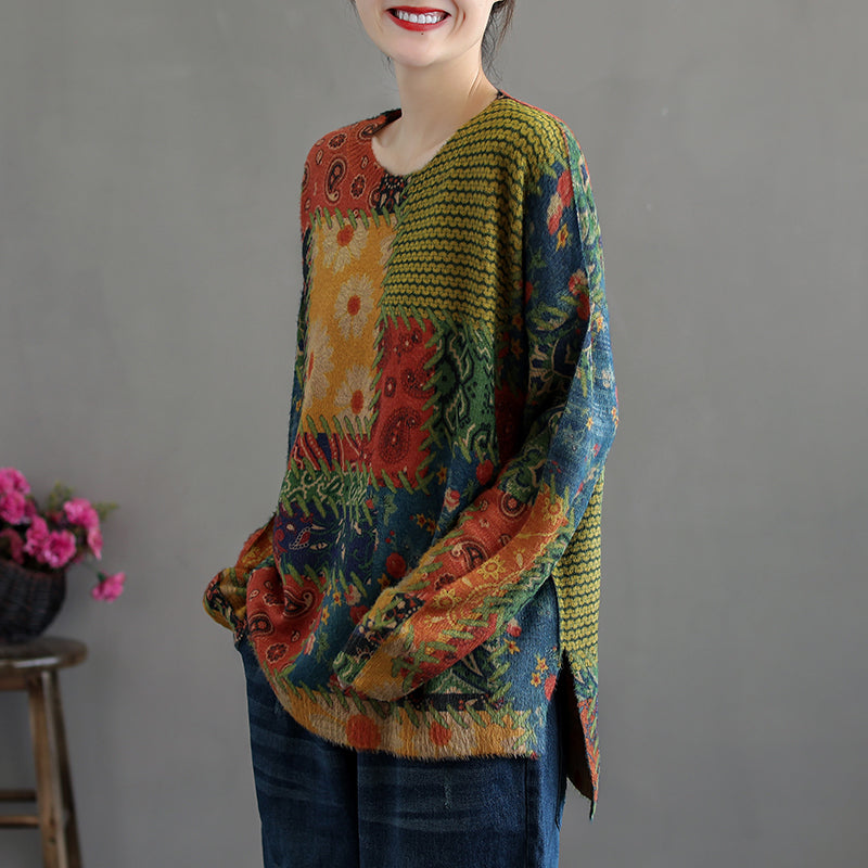 Autumn Women Retro Knitted Sweater