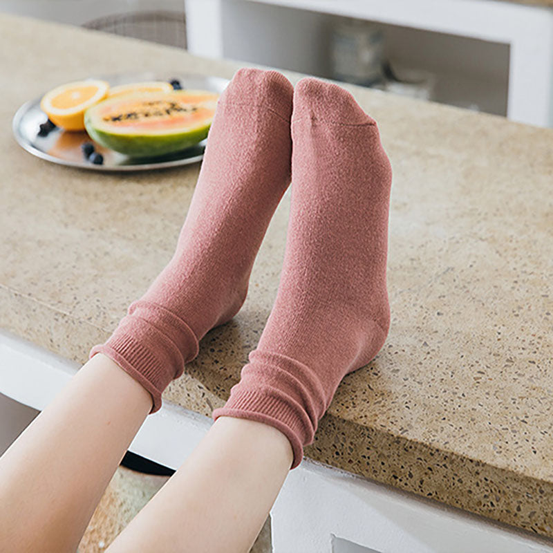 Autumn Women Solid Color Socks(4 Pairs)