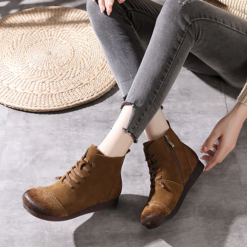 Autumn Women Solid Color Zipper Boots