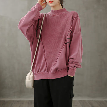 Autumn Women Stitching 100%Cotton Blouse