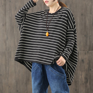 Autumn Women Striped Irregular Hem T-shirt