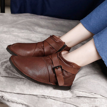 Autumn Women Warm Leather Shoes