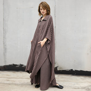 Autumn Baggy Polyester Stripes Long Loose Casual Set