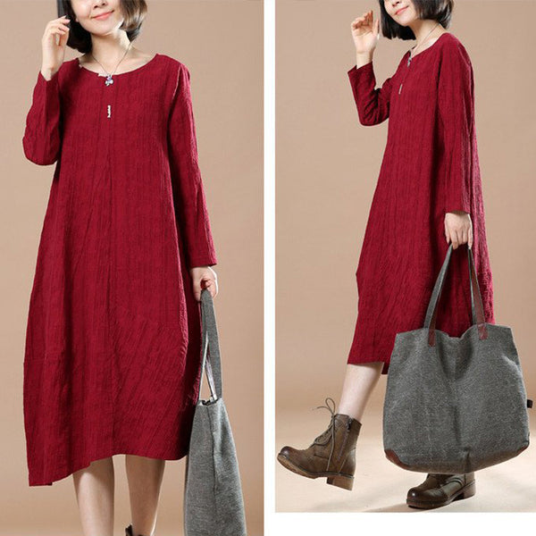 Autumn Big Large Long Sleeve Casual Round Neck Dress - Buykud