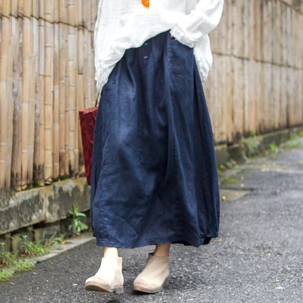 Autumn Blue Linen Oversized A-line Skirt