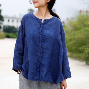 Autumn Blue Single Breasted Linen Loose Blouse
