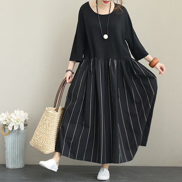 Autumn Casual Cotton Loose Black Dress