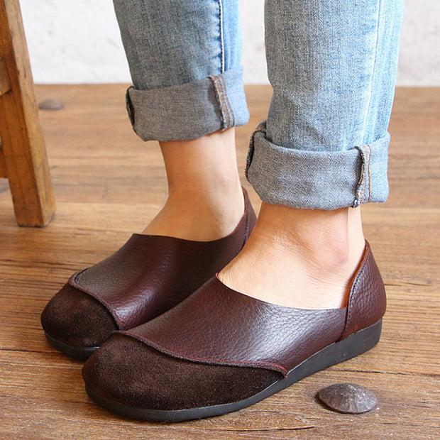 Autumn Classic Leather Flat Women Shoes