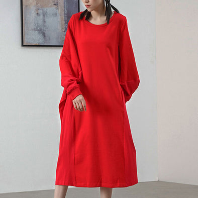Autumn Commuter Cotton Solid Belt Loose Fashion Dress