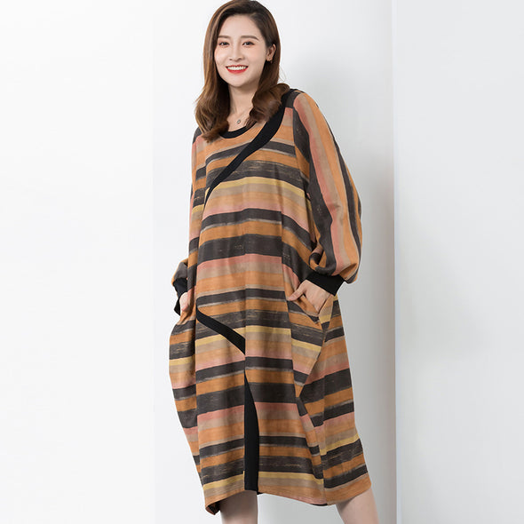 Autumn Commuter Polyester Striped O-Neck Knee-length Dress