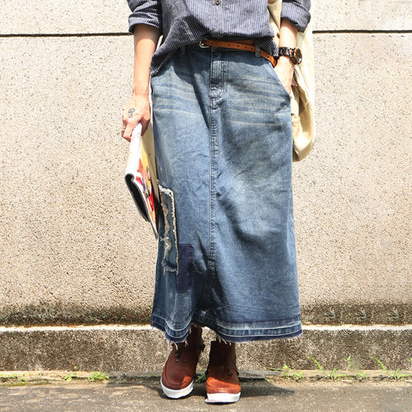Autumn Cotton Blue Washed Denim Skirt