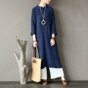 Autumn Embossing Solid Cotton Loose A-Line Dress