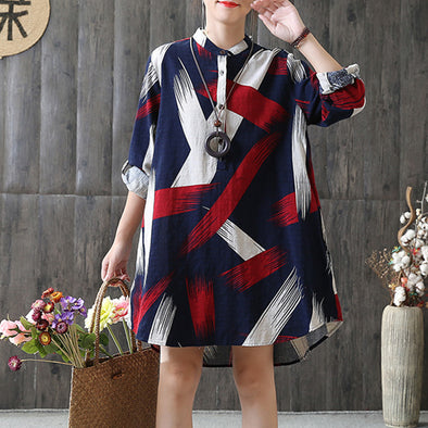 Autumn Fashion Scrawl Print Shirt Mini Dress