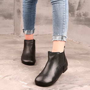 Autumn Female Solid Leather Classic Boots